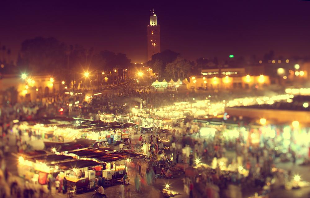 the UNESCO square Djemaa El fna at marrakesh Morocco