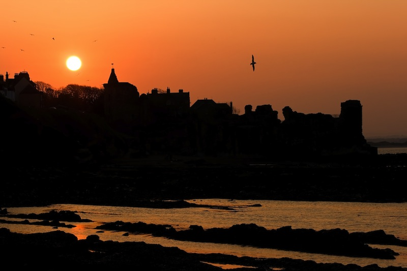 the castle in St Andrews at sunset