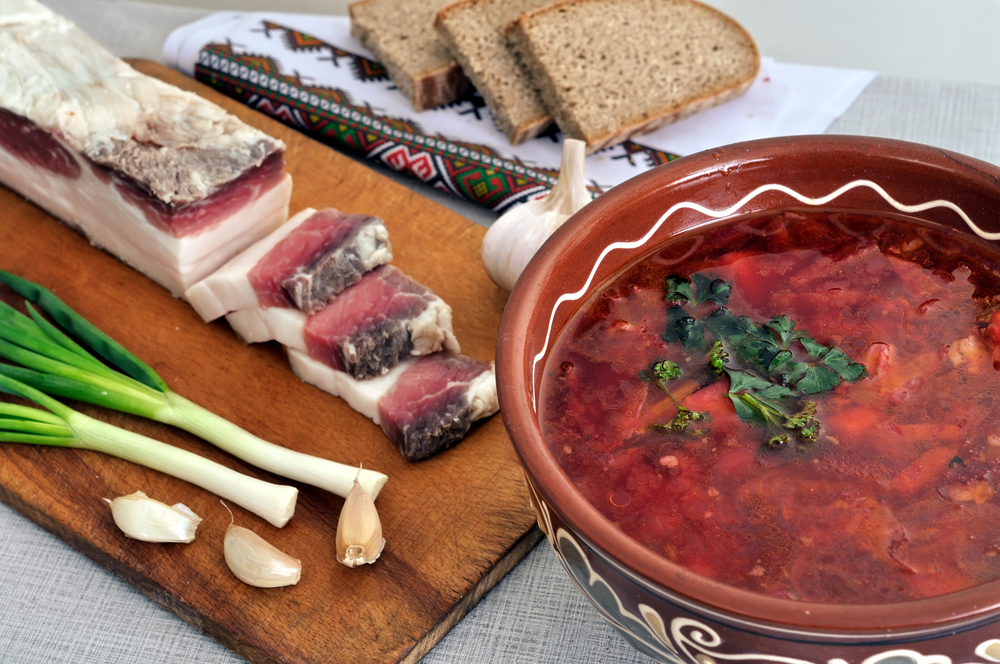 traditional simple ukrainian food ukrainian borscht salted fresh lard salo garlic green onion and rye bread ucraina