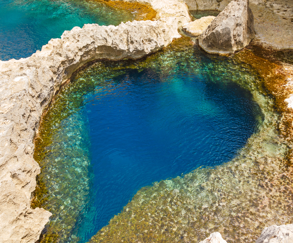 underwater cave in the form of heart at Azure Window in Gozo Malta