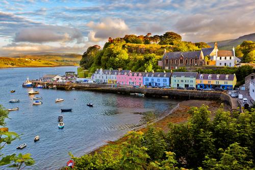 view on Portree before sunset Isle of Skye Scotland