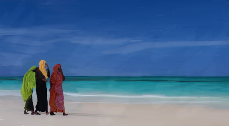 walking on the beach in Zanzibar Stock Photo