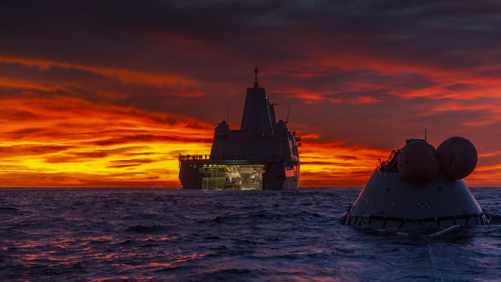 Recovery of the Test Orion Capsule in the Pacific Ocean