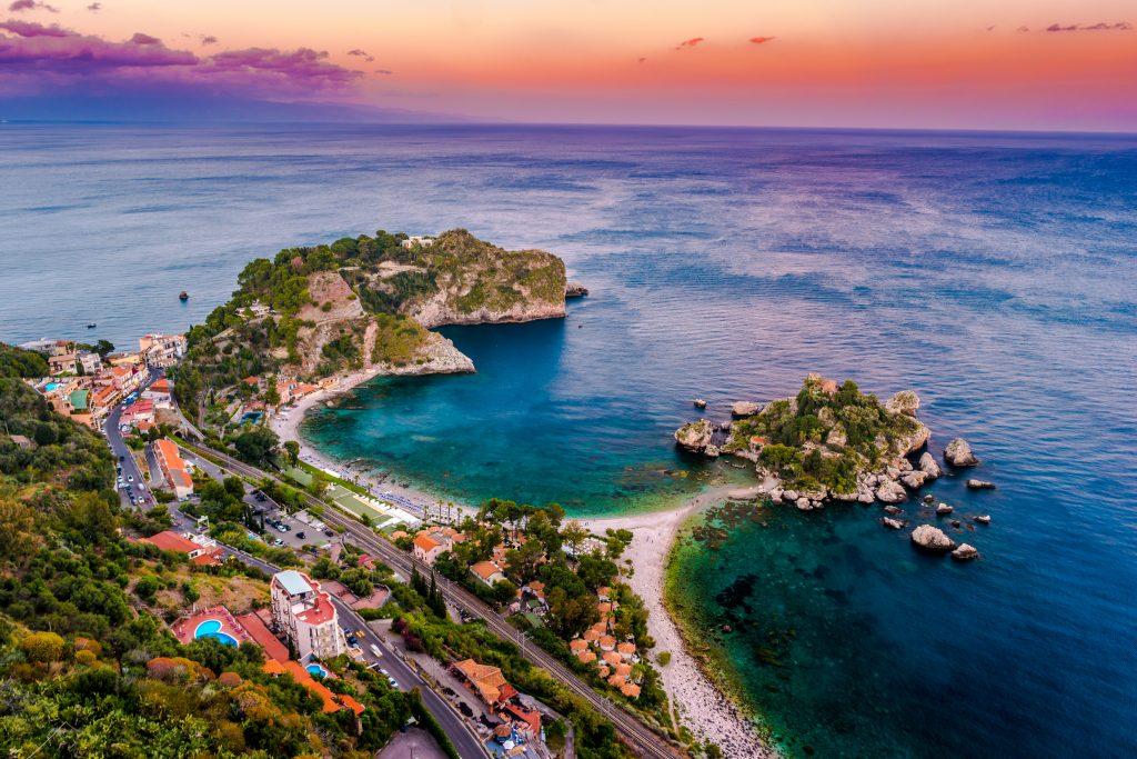 beautiful landscape taormina italy sicilian seascape
