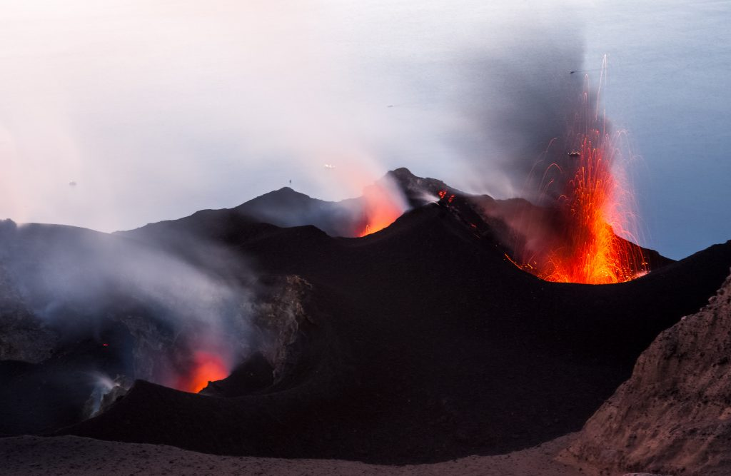 crater volcano on stromboli island aeolian