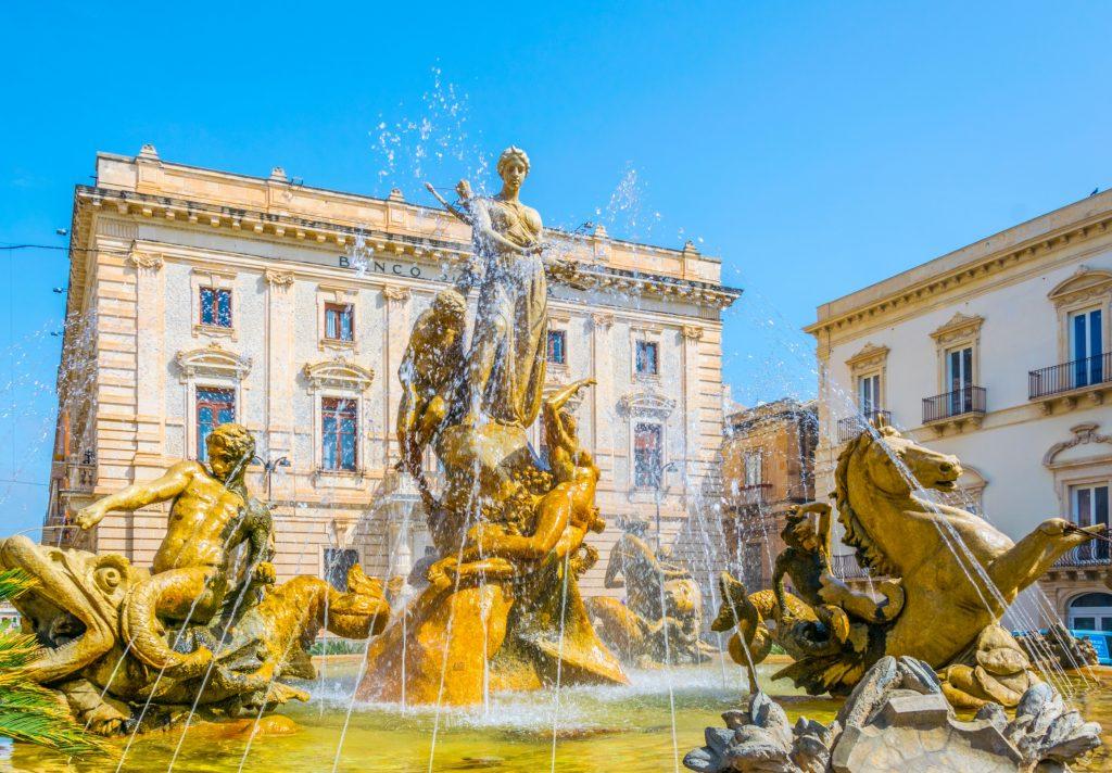 fountain diana syracuse sicily italy