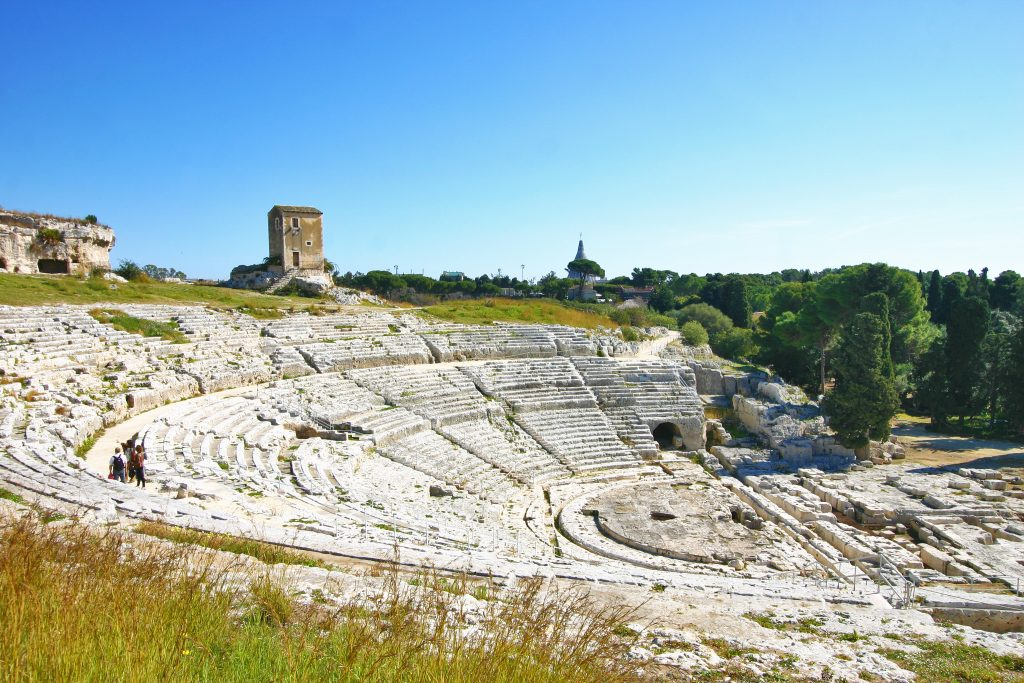 panoramic view ancient greek theater syracuse