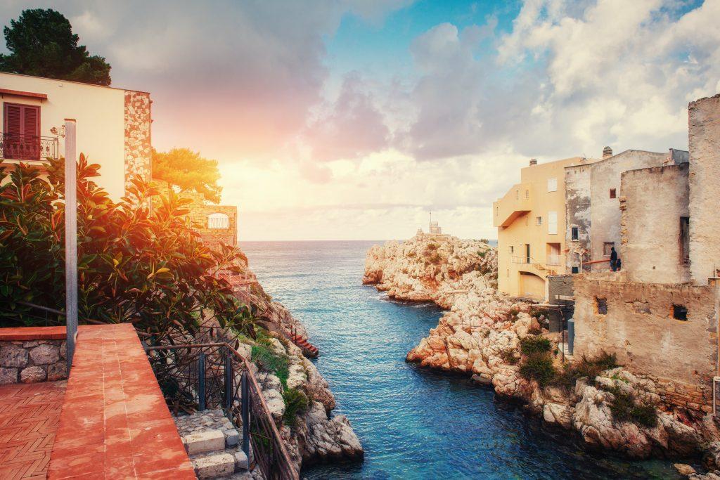 scenic rocky coastline cape milazzo sicily