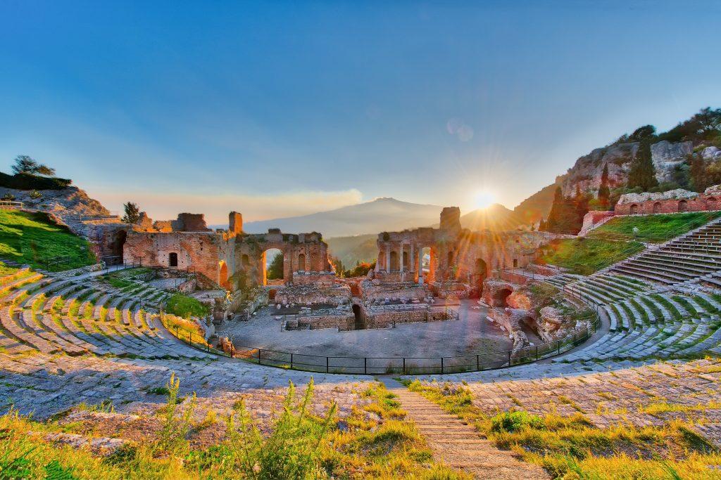 ancient theatre taormina siciliy italy etna