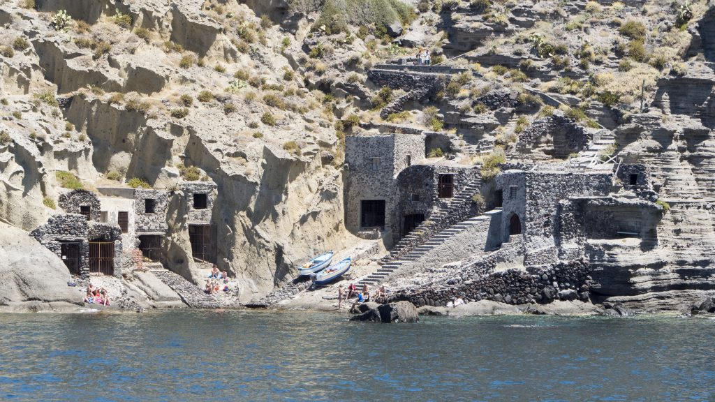 fishermens sheds dug into rock pollara
